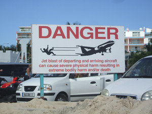 Airport danger sign, St. Maarten