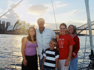 The Granger family sailing into Sydney Harbour