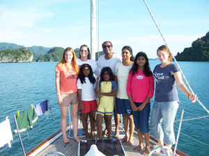 Joe and his family on board Faith for a couple of days in Langkawi, Malaysia