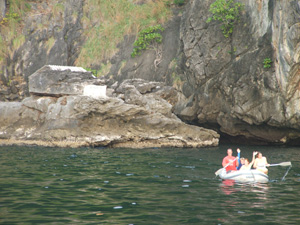 Coming out of cave to hong - hollow inside lagoon of Koh Muk