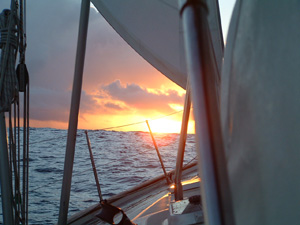 Sunset on our first passage